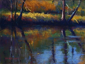 a pastel painting of the Rum River in Minnesota