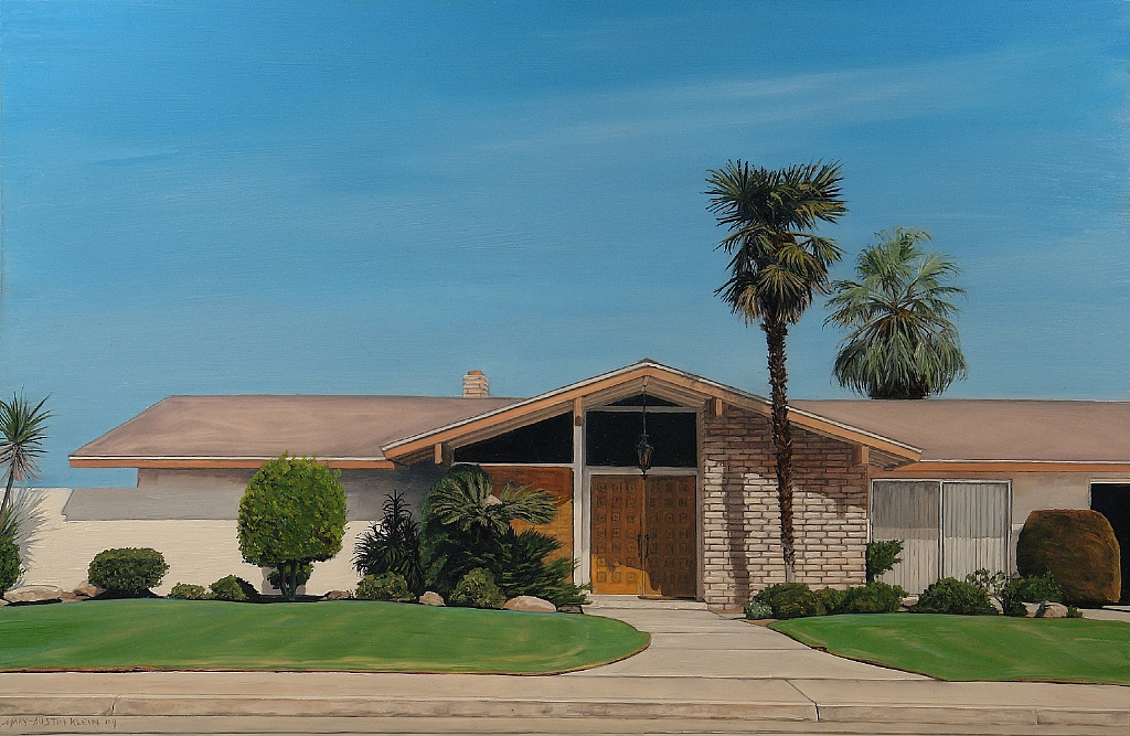 "Lawn & Palms by Mary-Austin Klein Oil ~ 10.25"" x 16"""