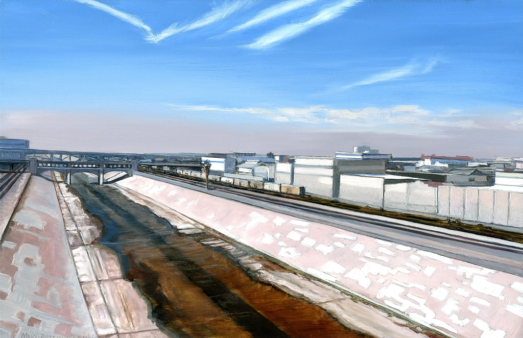 "LA River from 6th Street Bridge by Mary-Austin Klein Oil ~ 4"" x 6"""