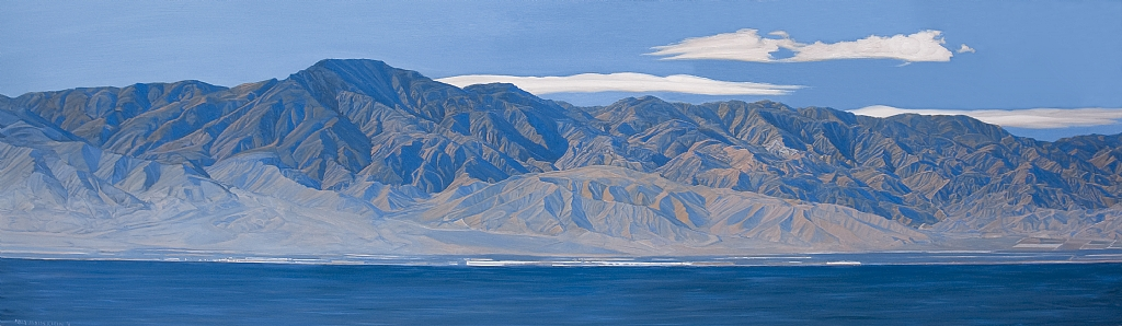"Salton Sea from North Shore by Mary-Austin Klein Oil ~ 10"" x 34"""