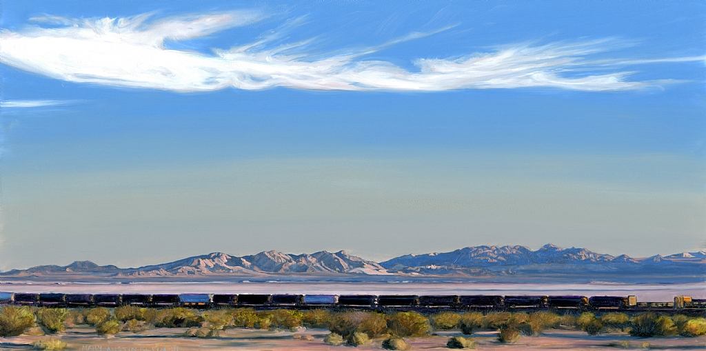"Amboy Train and Bristol Dry Lake by Mary-Austin Klein Oil ~ 5.5"" x 11"""