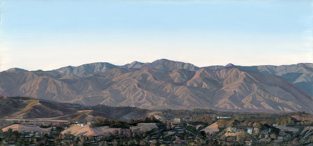"San Gabriel Mts. from Mt. Washington by Mary-Austin Klein Oil ~ 5"" x 11"""