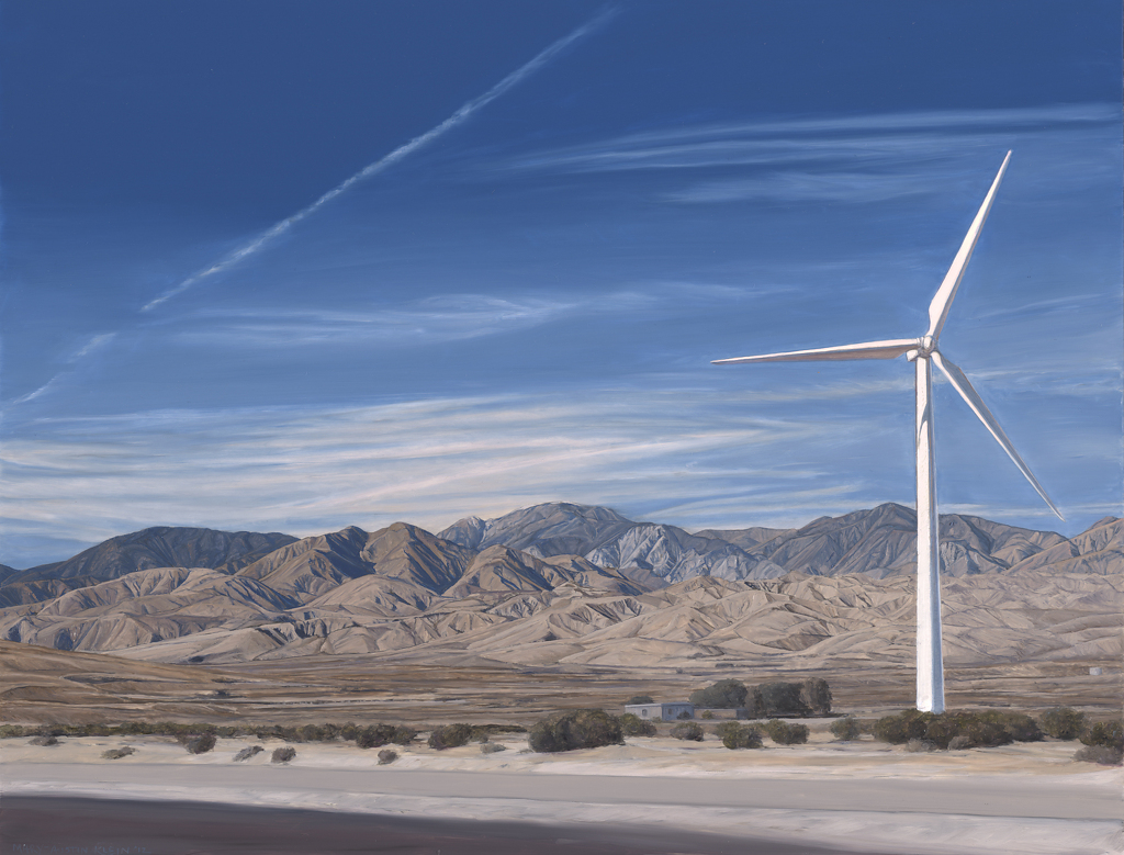 "San Gorgonios with Wind Turbine by Mary-Austin Klein Oil ~ 12"" x 16"""