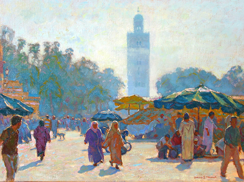 "Morocco: La Place The Marketplace in Marrakech by David Tanner Oil ~ 18"" x 24"""