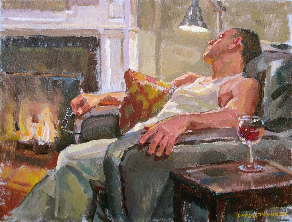 "By the Fireside by David Tanner Oil ~ 12"" x 16"""