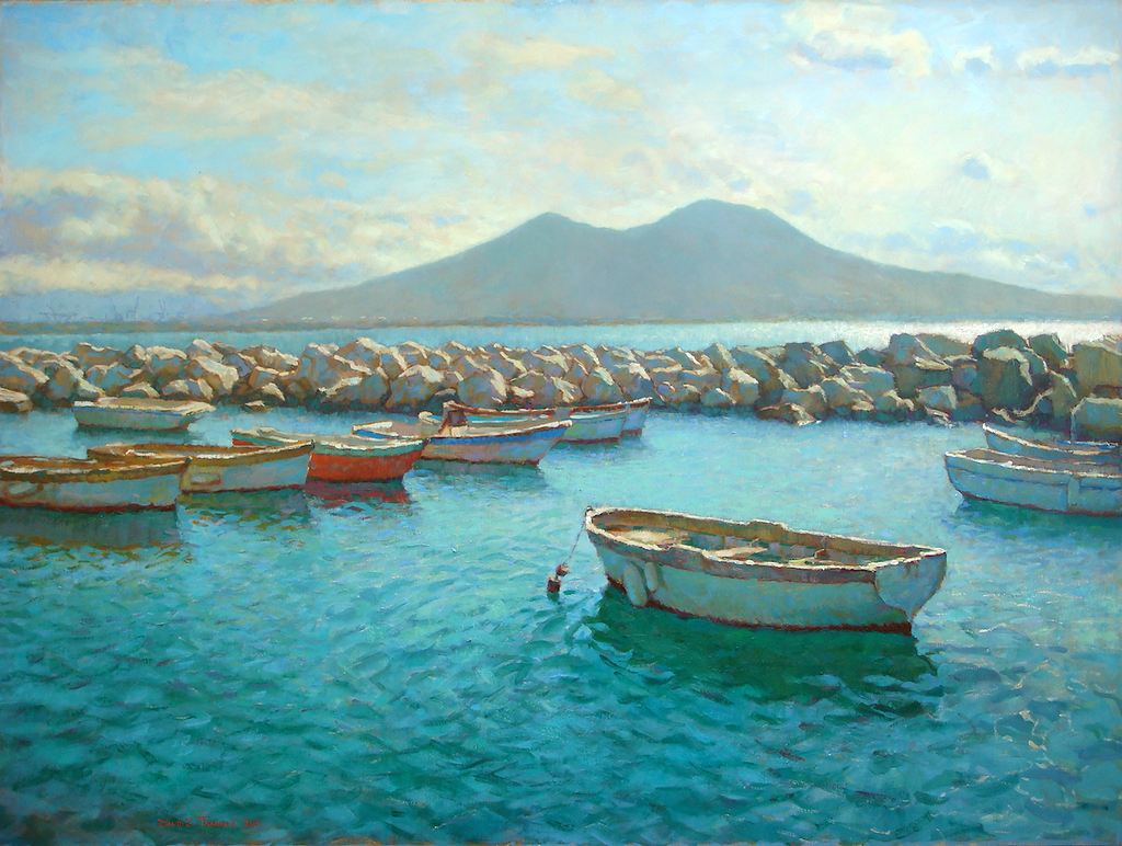 "Mount Vesuvius & The Bay of Naples by David Tanner Oil ~ 36"" x 48"""