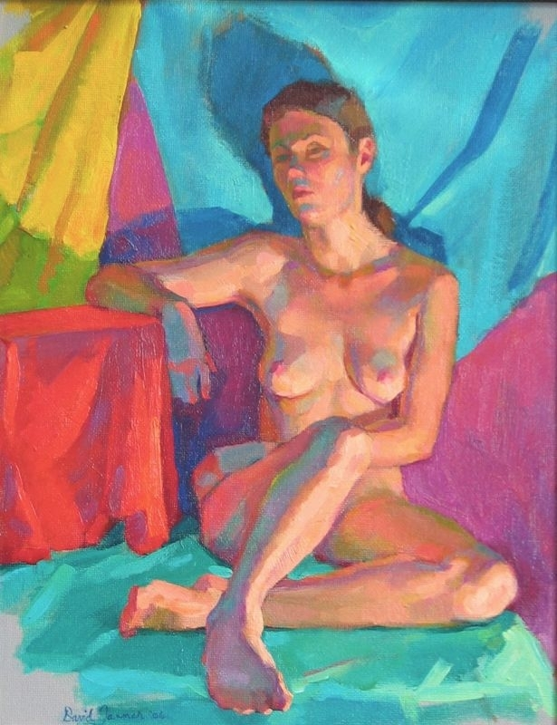 "Color Study With Nude by David Tanner Oil ~ 16"" x 12"""