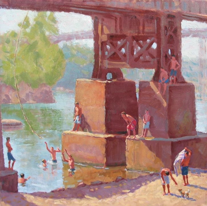 "Bathers on the James by David Tanner Oil ~ 24"" x 24"""