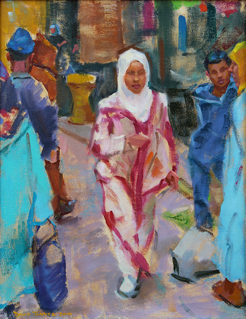 "Morocco: In the Tangier Marketplace by David Tanner Oil ~ 14"" x 18"""