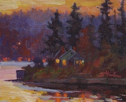 Puget Sound Dusk by Steve Henderson Oil ~ 8&quot; x 10&quot;