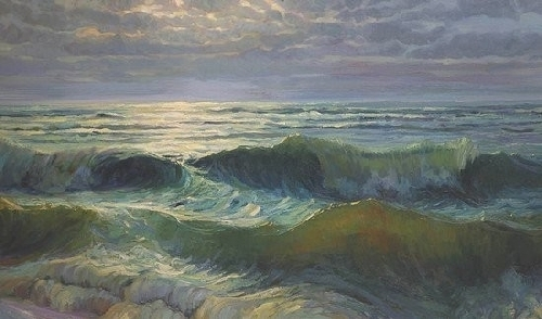 Afternoon Waves by Steve Henderson Oil ~ 28&quot; x 48&quot;