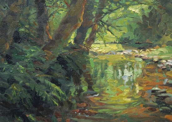 Hidden Stream by Steve Henderson Oil ~ 8 x 12