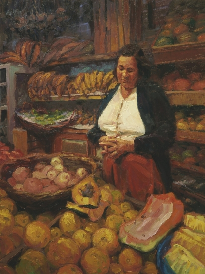 The Fruit Vendor by Steve Henderson Oil ~ 30 x 22
