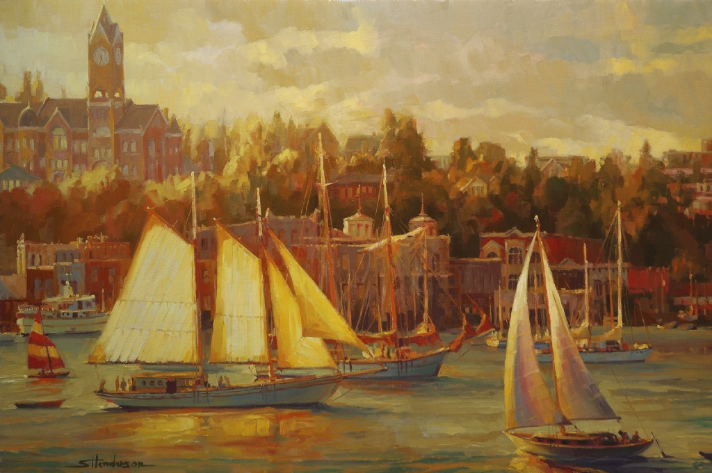 Harbor Faire -- Available at The Lawrence Gallery, OR by Steve Henderson Oil ~ 24 x 36