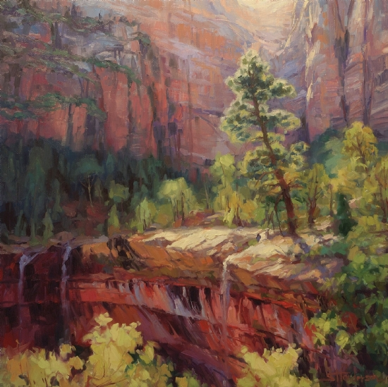 Last Light in Zion -- Accepted to the 6th Annual Paint the Parks National Competition by Steve Henderson Oil ~ 30 x 30