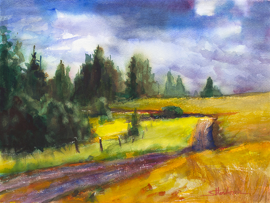 County Road by Steve Henderson Watercolor ~ 10.5 x 13.5