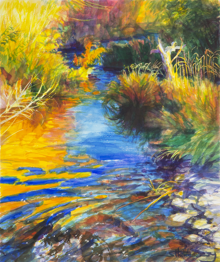 Autumnal Reflections by Steve Henderson Watercolor ~ 24 x 20