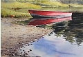 Red Rowboat in Racquette Cove by Poppy Balser