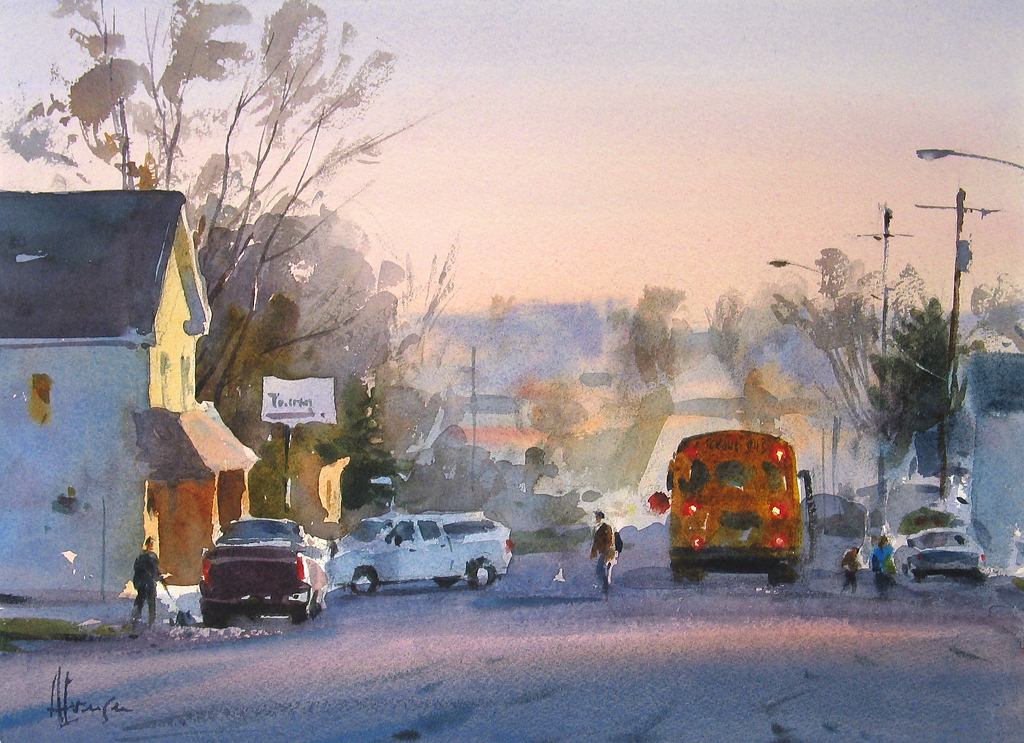 andy evansen   bus stop new trier   watercolor   painting entry
