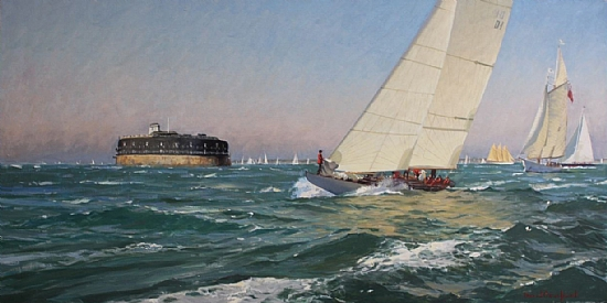 "America's Cup Jubilee Regatta, August 21, 2001  -  David Bareford Oil 48"" x 24"" - Entered On 07-31-2010"