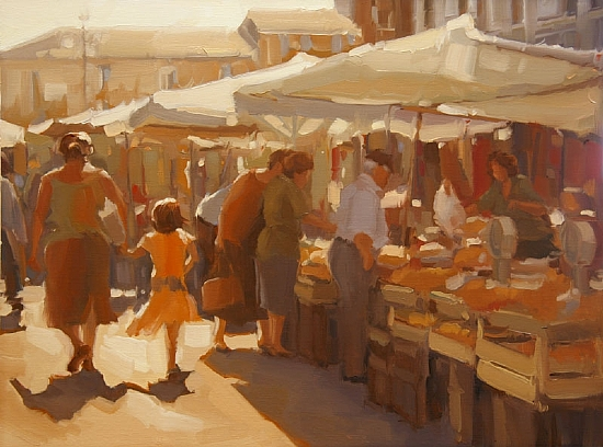 "Market Day  -  Sarah Kidner Oil 24' x 18"" - Entered On 12-30-2009"