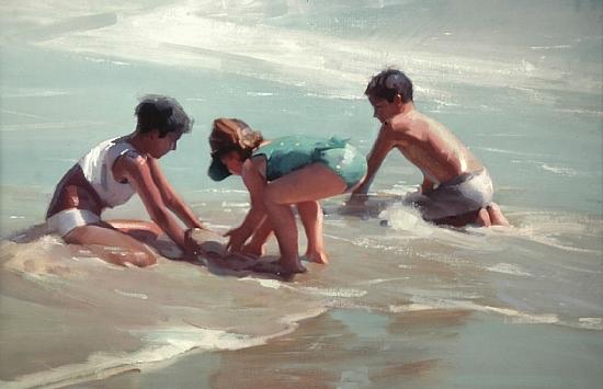 "kids and surf  -  Robert Lemler Oil 30"" x 24"" - Entered On 01-05-2010"