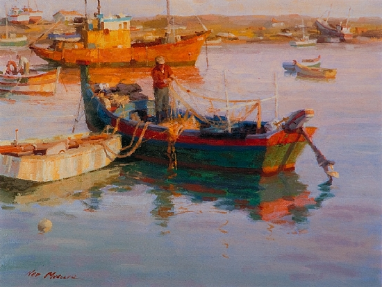 "Lagos Harbor - Portugal  -  Ned Mueller Oil 16"" x 12"" - Entered On 04-28-2010"
