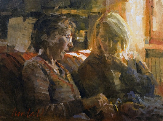"Tatting Lesson  -  James Crandall Oil 16"" x 12"" - Entered On 01-15-2011"
