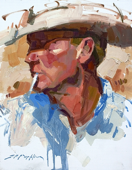 Profile Of A Cowboy  -  Jerry Markham Oil 11 x 14 - Entered On 02-25-2011