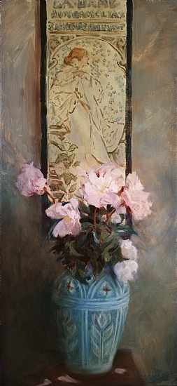 "Mucha and Peonies  -  Michelle Dunaway Oil 16"" x 34"" - Entered On 07-31-2011"
