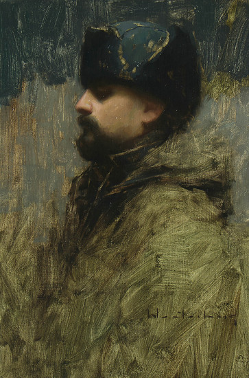 Self Portrait With Fur Hat   -  A Westerberg Oil 16 x 24 - Entered On 09-05-2012