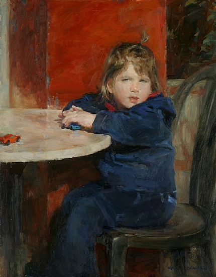 Little Girl with Toy Cars  -  Yen-Ching Chang Oil 22 x 28 - Entered On 10-01-2012